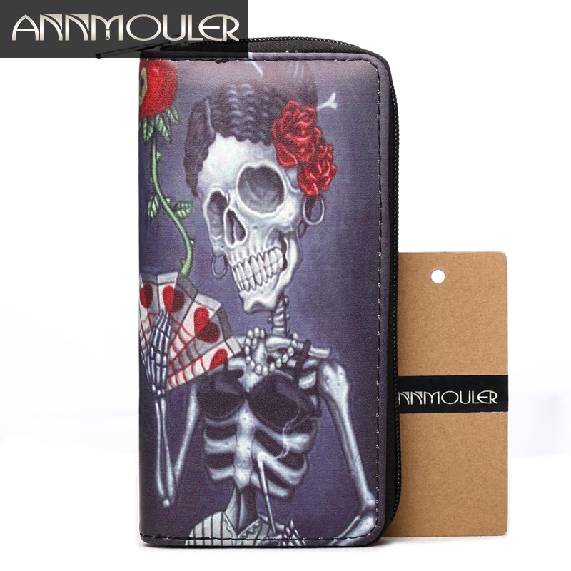 Annmouler Brand Women Wallet Leather Purse Skull Print Capacity Card Holder