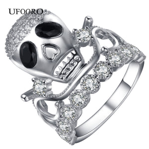 Trendy Punk Silver-Color Viking Skull Ring Tibetan Gothic Rock Punk trendy Jewelry