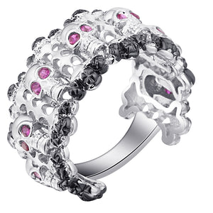UFOORO Vintage Cubic Zircon Stone Skull Women Silver Color Unique CZ Rings