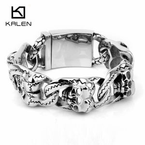 316L Stainless Steel Heavy Chain Bracelets Double Skull Heads Bracelets For Men
