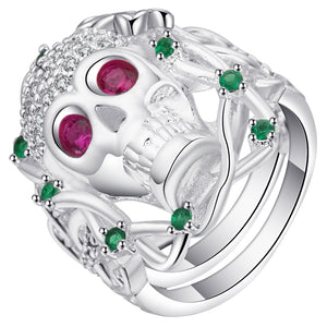 Rose And Green Zircon Stone Women's Skull Rings Settings Retro CZ Design Fashion