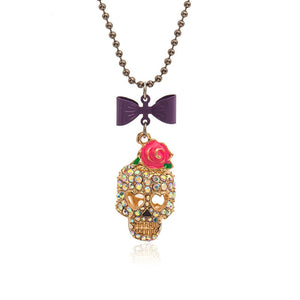 New vintage rose bowknot skull charm Pendant/Necklace Rhinestone Crystal jewelry