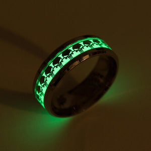 Men/Women Stainless Steel Fashion Jewelry Punisher skull ring luminous Glow in The Dark Rings
