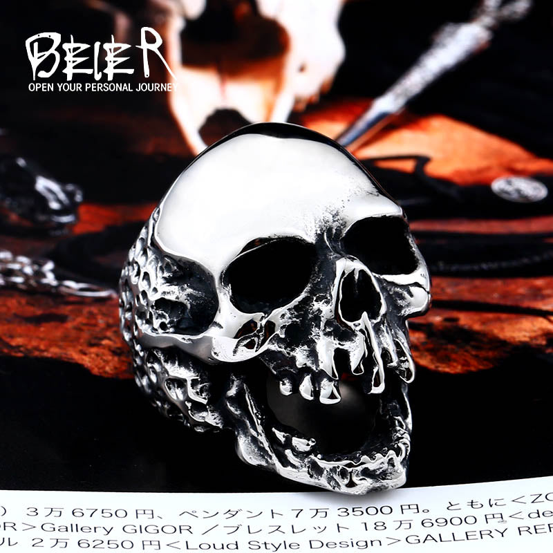 Beier 316L Stainless Steel high quality Skull ring men fashion jewelry