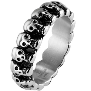Stainless Steel Skull Women/Men Gothic Skeleton Biker Rocker Ring Size 5-15