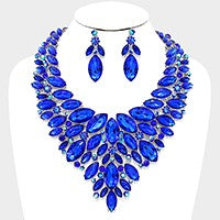 Royal Blue Crystal Evening Necklace Set