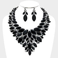 Black Crystal Evening Necklace Set