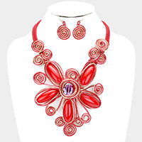 Resin Gem Coil Wire Wrap Bib Necklace