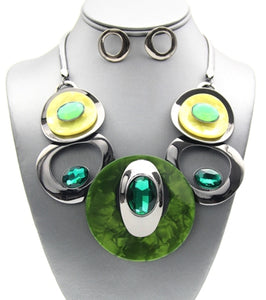 Green Circle Necklace Set