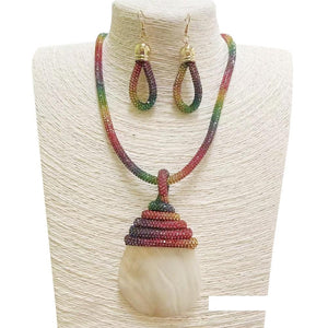 Rainbow Shell Pendant Set