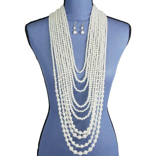 Multi Layered Creme Pearl Necklace Set