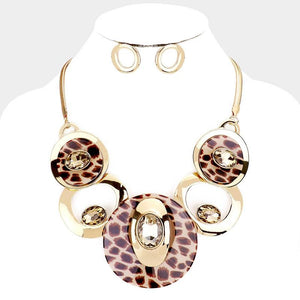 Circle Leopard Print Necklace