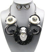 Black and Silver Circle Necklace Set