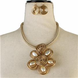Fashion Cord Flower Necklace Set