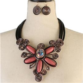 Fashion Flower Wired Necklace Set
