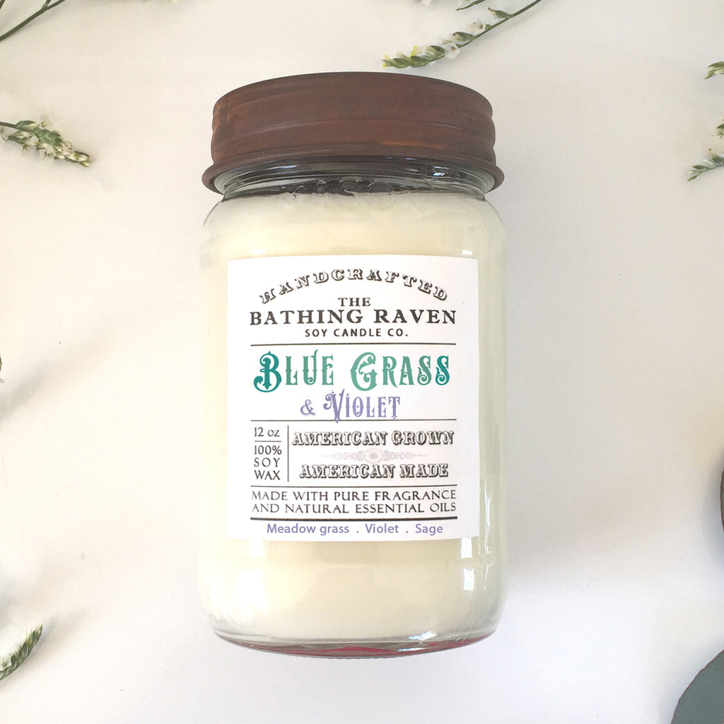 Blue Grass & Violet | Farmhouse Mason Collection Soy Candle
