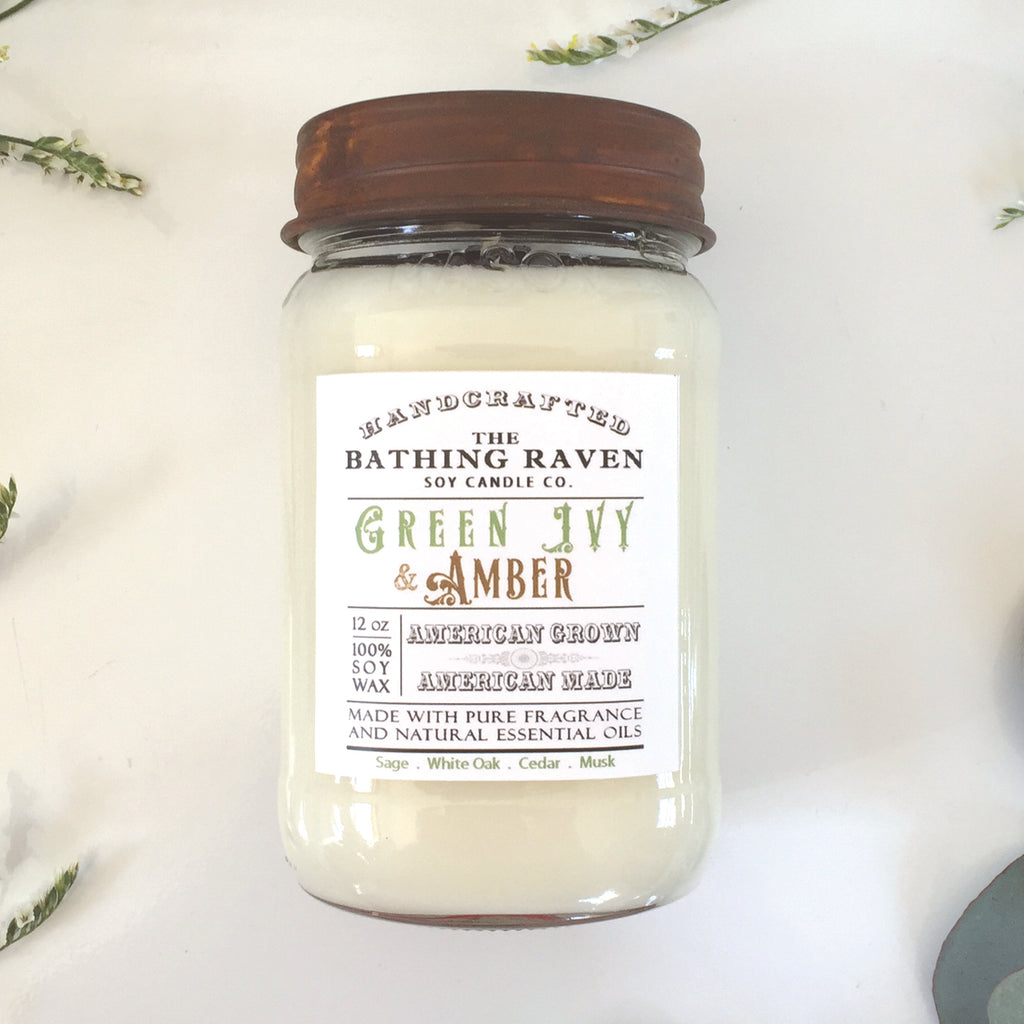 Green Ivy & Amber | Farmhouse Mason Collection Soy Candle