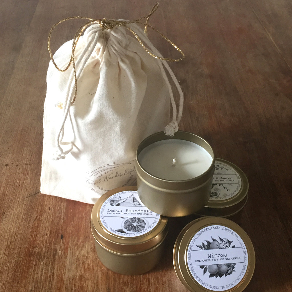 Gift-Bag Wrap for 3 | Petite Gold Collection Soy Candle