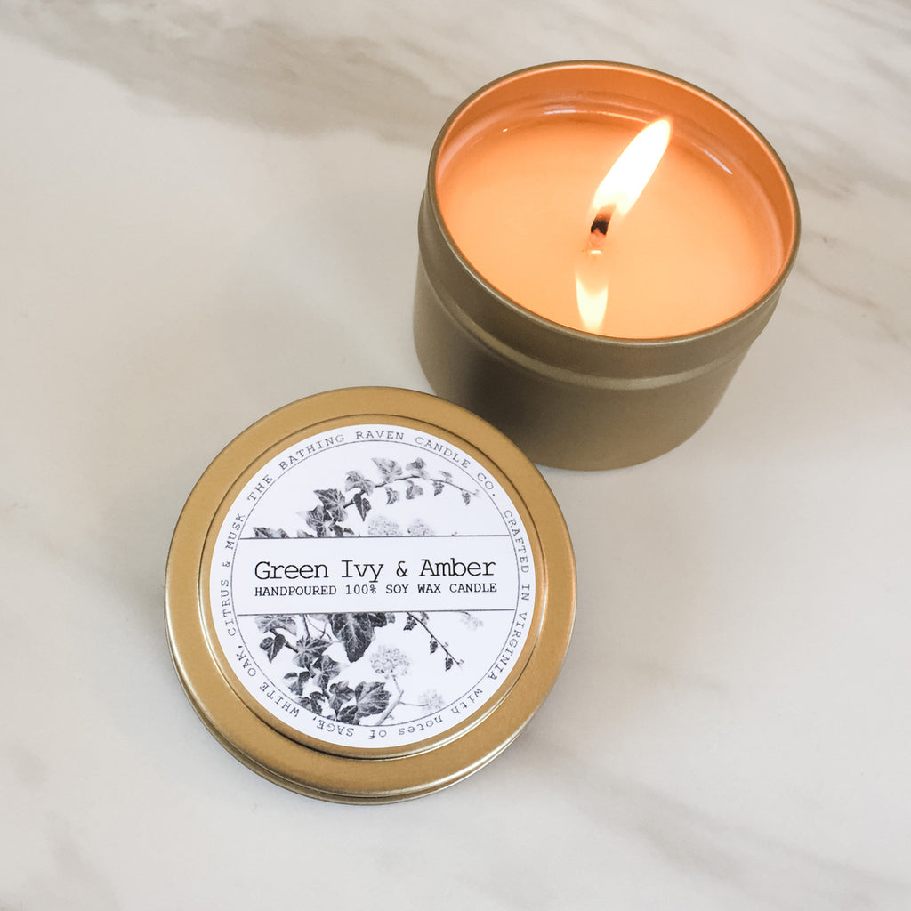 Green Ivy & Amber | Petite Gold Collection Soy Candle