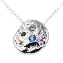 Swiss Blue Topaz, Silver Grey Diamond, Moissanite Necklace