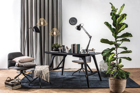 Image of large study space with black desk and tall fiddle leaf plant