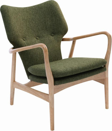 our chic armchair with a midcentury flair will be available in the bold Forest Green upholstery with a natural oak frame