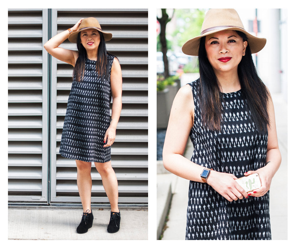 Bernadette wearing the Fresco Shift dress in black ikat.