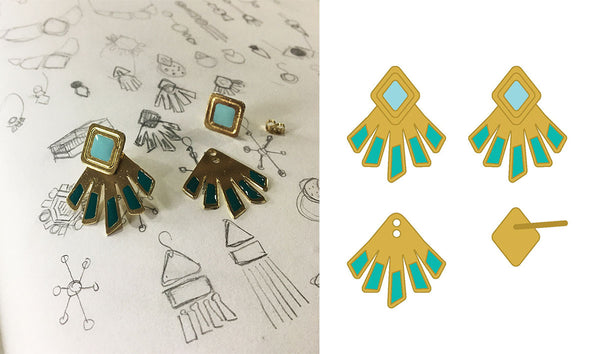 The Kizette earrings atop sketch designs of the jewelry.