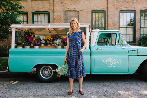 Youth and Yarrow Floral Turquoise Vintage Truck