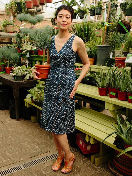 Navy Blue Wrap Dress with White Dots - Mata Traders Ethical Fashion
