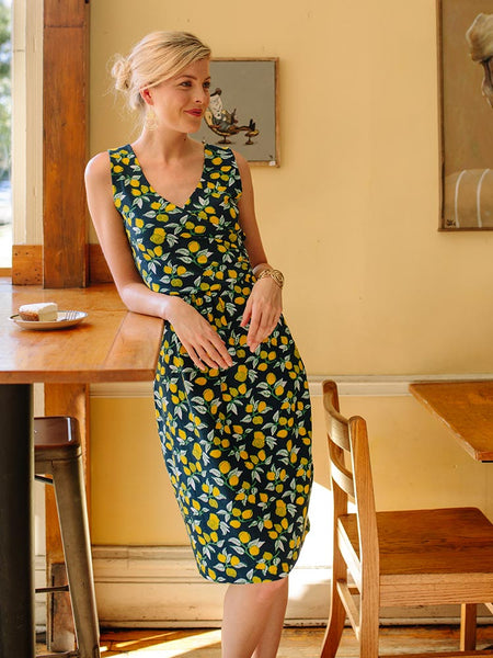 Wrap Dress with Lemons - Mata Traders Ethical Fashion