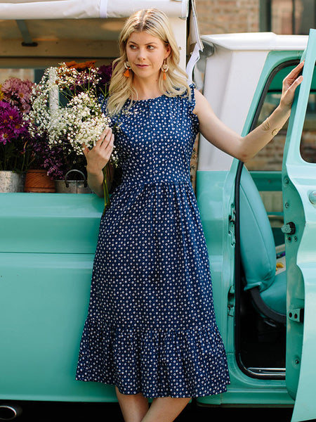 Mata Traders Ethical Fashion Ruffled Midi Dress with Blue Dots