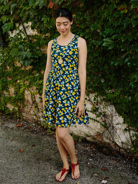 Summer Sonnet Dress with Lemons - Mata Traders Ethical Fashion