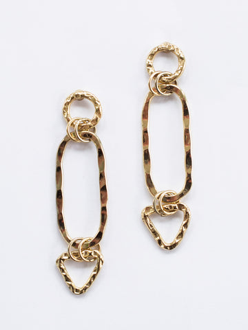 Shape Link Earrings in Gold
