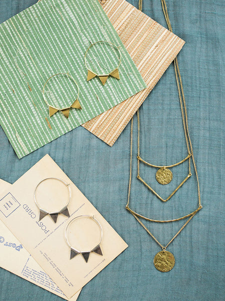4d48959b6 Abaco Hoop Earrings in Gold, Abaco Hoop Earrings in Silver, and Tiered  Sundrop Necklace