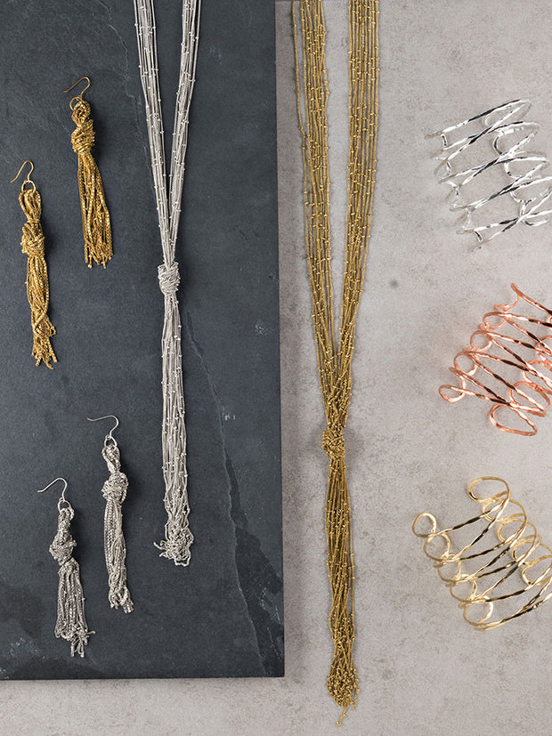 Knotted Fringe Necklace Gold