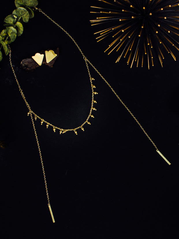 Beaded Lariat Necklace Gold