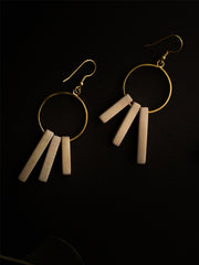 Hoop Block Earrings Grey