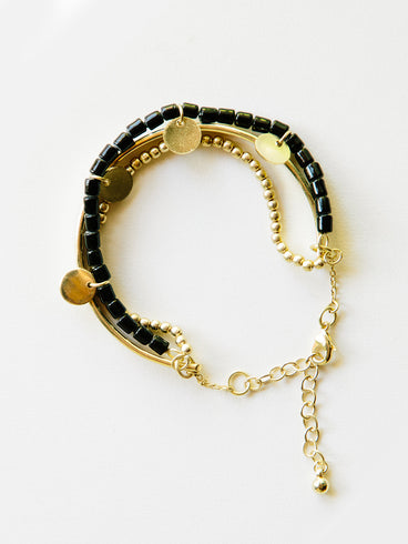 Bead And Bar Bracelet Black