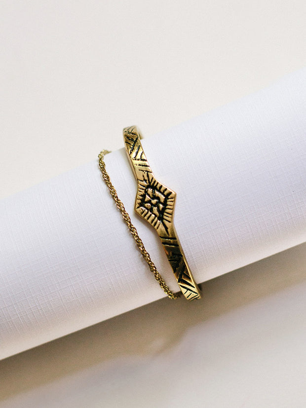 Etched Tassel Cuff Gold