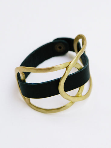 Leather Wrap Cuff Gold