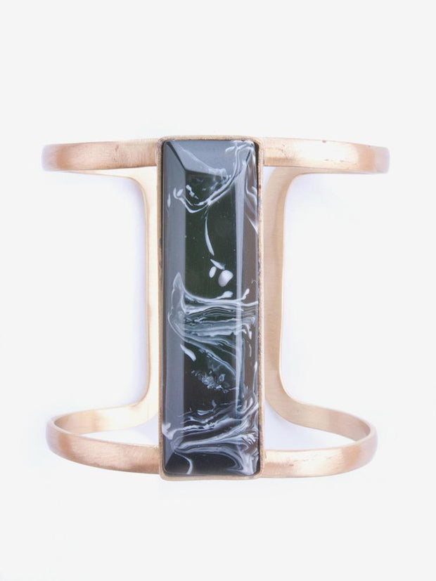Marbled Stone Cuff Black