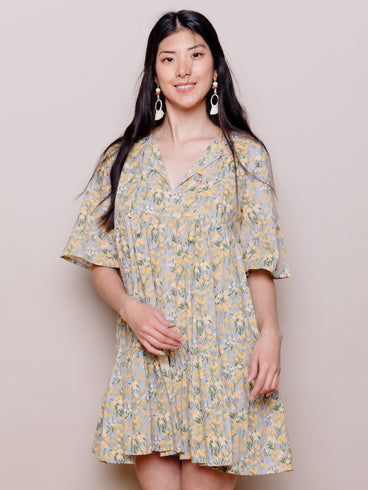 Adelaide Tiered Mini Dress Yellow Floral