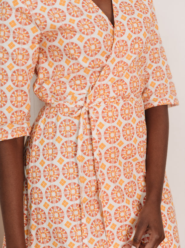 Aditi Wrap Dress Peach Tile
