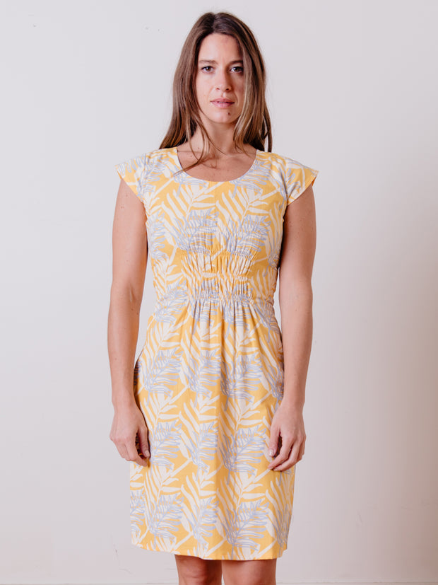 Artsy Traveler Dress Layered Palms Yellow