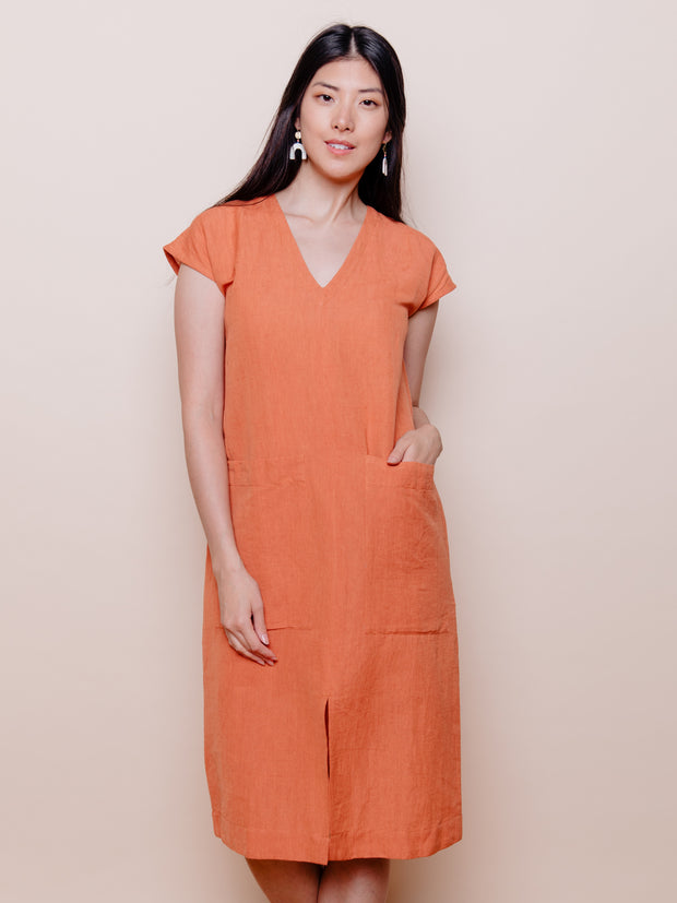 Darjeeling Pocket Dress Amber Linen