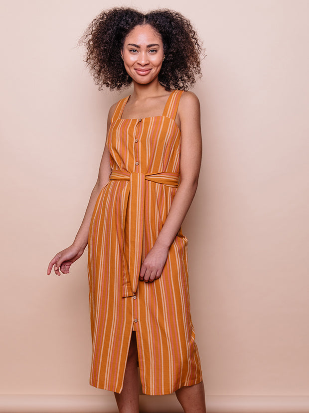 Della Dress Rust Stripe