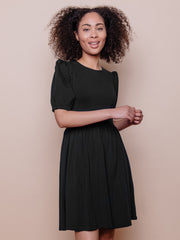 Inez Bubble Sleeve Dress Black Jersey