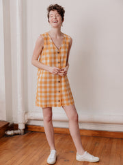 Jacklyn Shift Dress Gold Gingham