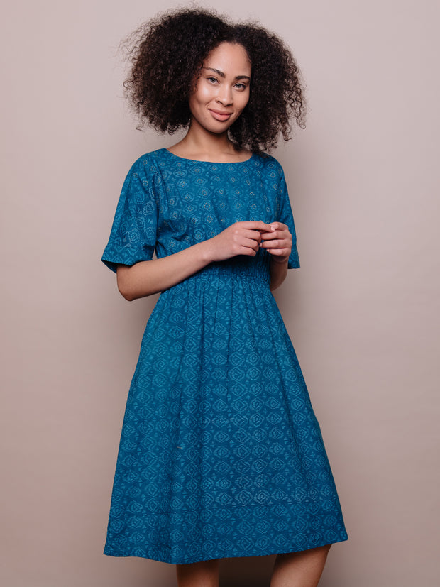 Roo Elastic Waist Dress Blue Diamond